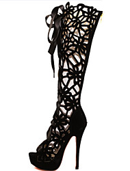 Mujer-Tacón Stiletto-Plataforma Confort Zapatos del club Light Up Zapatos-Botas-Vestido Informal Fiesta y Noche-Cuero-Negro Rojo