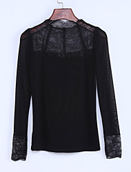 Spring/Fall Casual/Daily/Plus Size Women's Tops Solid Color Lace Sequins Stand Collar Long Sleeve Slim Blouse Shirt