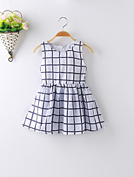 Baby Casual/Daily / School Plaid Dress,Polyester Summer Blue