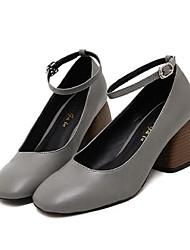 Damen-High Heels-Lässig-PU-BlockabsatzGrau Grün