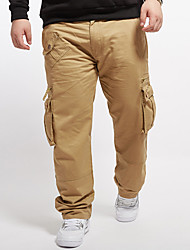 Men's Solid Yellow Chinos / Loose Pants,Simple All Seasons