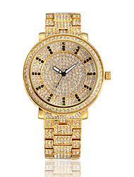 Damen Modeuhr Armband-Uhr Armbanduhren für den Alltag Quartz Wasserdicht Strass Edelstahl Band Glanz Bequem Gold Gold Weiß