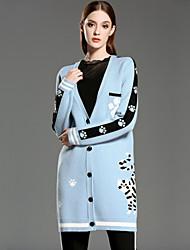Mujer Largo Cardigan Casual/Diario Vintage,Geométrico Azul Rosa Escote en Pico Manga Larga Rayón Nailon Invierno Fino Microelástico