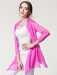 Damen Standard Strickjacke-Ausgehen Lässig/Alltäglich Einfach Niedlich Solide Rosa Braun Grau Rundhalsausschnitt ¾-Arm PolyesterFrühling