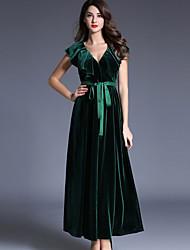 Feminino Bainha Vestido, Casual Simples Sólido Decote V Médio Sem Manga Verde Poliéster / Fibra Sintética Outono Cintura MédiaSem