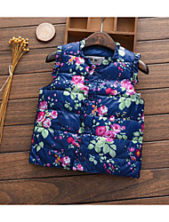 Girl Casual/Daily Floral Vest,Cotton Winter Sleeveless
