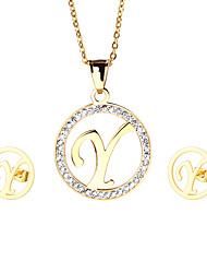 Trendy Stainless Steel 18K Gold Plated Capital Letter Y Pendant Necklace And Earrings Jewelry Sets For Women Cheap Accessories Friendship Gifts