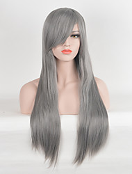 Long Straight Light Grey Heat Resistant Synthetic Wigs Cheap Wigs For Women Fashion Party