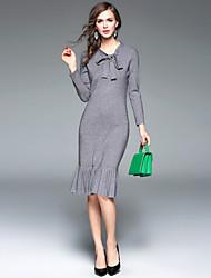 Женский На выход / На каждый день / Офис Секси / Простое / Уличный стиль Оболочка Платье Однотонный,Круглый вырез Средней длиныДлинный
