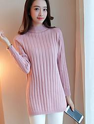 Damen Standard Pullover-Lässig/Alltäglich Einfach Solide Rosa Beige Grau Rollkragen Langarm Acryl Herbst Mittel Mikro-elastisch