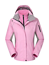 Women's 3-in-1 Jackets Waterproof Thermal / Warm Windproof Wearable Breathable Protective Sweatshirt Tracksuit for Leisure Sports Running