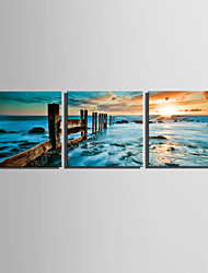 E-HOME Stretched Canvas Art Scenery Along The Coast Decoration Painting  Set of 3