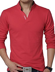 Men's Fashion Slim Letter Printed Long Sleeved Polo Shirt Letter V Neck Long Sleeve Red / White / Black / Gray / Green Cotton / Polyester