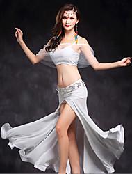 Dança do Ventre Roupa Mulheres Actuação Tule Frente Dividida 2 Peças Sem Mangas Natural Blusa Saia