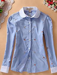 Женский На каждый день Рубашка Рубашечный воротник,Простое С принтом Синий / Белый / Зеленый Длинный рукав,Хлопок
