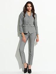 Women's Fall Blazer,Solid V Neck Long Sleeve Regular Polyester