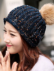 Women 'S Simple Seven - Color Line Curling Hair Ball Single Cap Wool Cap
