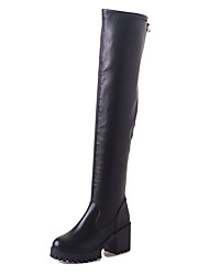 Women's Boots Winter Platform PU Casual Chunky Heel Split Joint Black Walking