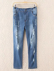 Women's Slim Jeans Pants,Casual/Daily Simple Solid Mid Rise Zipper Polyester Micro-elastic Spring