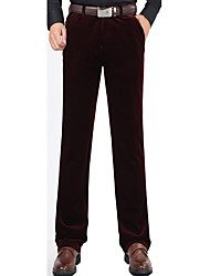 Masculino Tamanhos Grandes Reto Chinos Calças-Cor Única Casual Simples Cintura Média Zíper Elastano / Algodão Micro-ElásticoInverno /