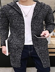 Men's Going out Casual/Daily Simple Long Cardigan,Solid Gray Round Neck Long Sleeve Faux Fur Cotton Fall Winter Medium Micro-elastic