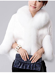Women's  / Casual/Daily Simple Fur CoatSolid Long Sleeve White / Black Faux Fur