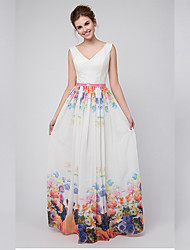 Formal Evening Dress - Sexy / Elegant A-line V-neck Floor-length Chiffon with Pattern / Print