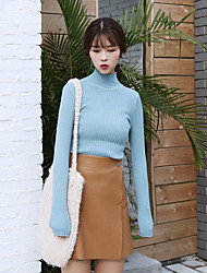 Sign Korean pit strip crimping neck knit sweater female student hedging and a half turtleneck sweater