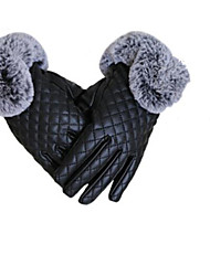 Full Touch Screen Imitation Leather Ladies Warm Gloves