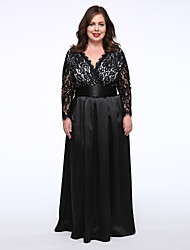 Women's Party/Cocktail Sexy Plus Size / Lace Dress,Solid V Neck Maxi ½ Length Sleeve Black Polyester Spring