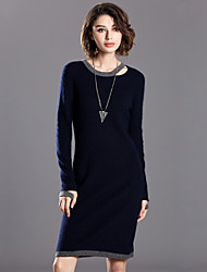 INPLUS LADY Women's Casual/Daily Vintage Sheath / Sweater DressSolid Round Neck Above Knee Long Sleeve Blue Wool / Rabbit Fur / Rayon / Nylon Winter