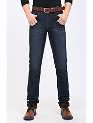 Men's Straight Jeans Pants,Casual/Daily Simple Solid Mid Rise Button Cotton Micro-elastic Spring