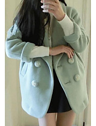 Women's Casual/Daily Simple Coat,Solid Long Sleeve Green / Purple Polyester