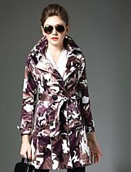 Notch Lapel Langærmet Medium Dame Sort camouflage Vinter Vintage Casual/hverdag Trenchcoat,Polyester
