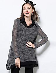 Damen Lang Pullover-Lässig/Alltäglich Einfach Solide Grau Rundhalsausschnitt Langarm Baumwolle Herbst Winter Mittel Mikro-elastisch