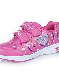Girl's Sneakers Fall Comfort PU Casual Flat Heel Magic Tape Pink Fuchsia