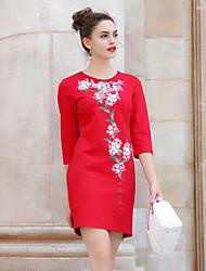 Gaine Robe Femme Vintage,Broderie Col Arrondi Au dessus du genou ½ Manches Rouge Rayonne / Nylon / Spandex Automne / Hiver Taille Normale