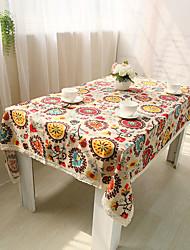 Rectangulaire Fleur Nappes de table , Mélange Lin/Coton Matériel Tableau Dceoration / Déco d'Intérieur