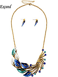 Brand New Arrival Exquisite Luxury Blue/Green Flower Crystal Alloy Jewelry Set Earring and Necklace for Women JS180348-1