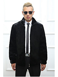 Men's Casual/Daily Simple Fur Coat,Solid Stand Long Sleeve Winter Black Faux Fur Thick