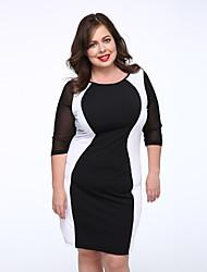 Женский Большие размеры / Секси Большие размеры Пэчворк Платье,Средней длины U-образный вырез Полиэстер / Спандекс