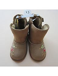 Girls' Boots Winter Fur Outdoor Flat Heel Applique Light Brown