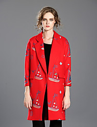 INPLUS LADY Women's Casual/Daily Simple CoatPrint Long Sleeve Winter Red Polyester Thick