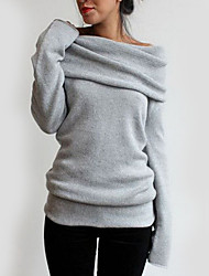 Women's Casual/Daily Simple T-shirt,Solid Asymmetrical Long Sleeve Gray Polyester