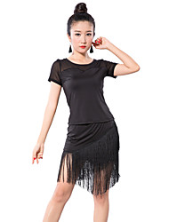Latin Dance Outfits Women's Training Tulle / Milk Fiber Tassel(s) 2 Pieces Latin Dance Short Sleeve