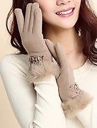 Women Lamb Fur Fingertips Wrist Length,Patchwork Casual Winter