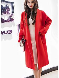 Damen Solide Street Schick / Anspruchsvoll Ausgehen / Party/Cocktail Trenchcoat,Frühling Hemdkragen Langarm Blau / Rot Mittel Baumwolle