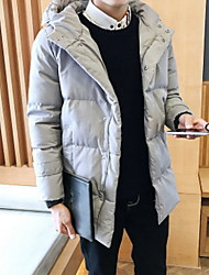Men's Regular Padded Coat,Simple Casual/Daily Solid-Cotton Cotton Long Sleeve Hooded