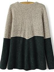 Damen Standard Pullover-Ausgehen Lässig/Alltäglich Einfach Einfarbig Blau Rot Grün Rundhalsausschnitt Langarm Kunst-Pelz Acryl Herbst