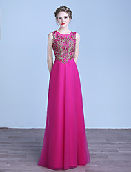 Formal Evening Dress Sheath / Column Jewel Floor-length Tulle with Appliques